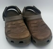 Crocs Swiftwater Clog Mule Sandals Adjustable Leather Brown Men's Sz 9