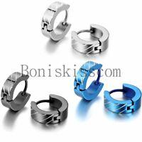2Pcs 4mm Striped Stainless Steel Men's Women's Huggie Hoop Hinged Snap Earrings