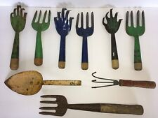 Nine Vintage Colorful Hand Garden Tools