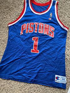 Vintage Champion Detroit Pistons Lindsey Hunter Jersey Mens L 44 blue rare