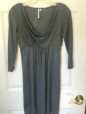 Michael Stars Dress Silver Sparkly Stretch 3/4 Sleeve Gray Womens Small S