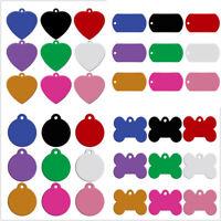 20/100pcs Dog ID Tags Round Bone Heart Shape Engrave Custom Pet Blank Collar Tag