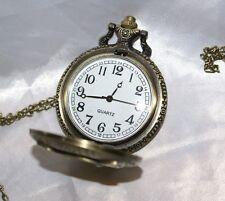 Orologio da tasca signorile con incisione gufo Quartz decori collana donna