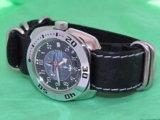 VOSTOK Russian military watch. Amphibian. The genuine leather strap. 710831