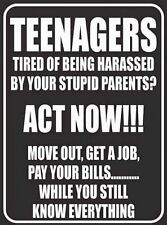 WARNING teenagers act now  tin metal sign MAN CAVE brand new