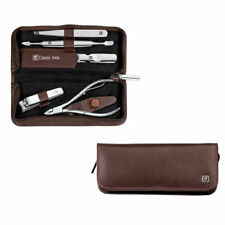 Zwilling J. A. Henckels Calf Leather Manicure Set with Zip Closure 5 pcs Brown