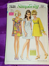 60s Mod Dress Low Nck Shrt or Lng Smocked Slv CMPLT Simplicity Pattern 7631 B34