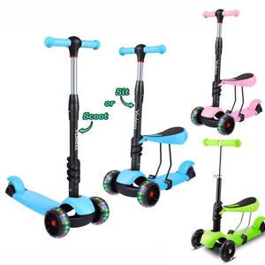 UK Kids Kick Push Scooter 3-Wheel LED Flashing Tilt Lean Child Scooter Xmas Gift