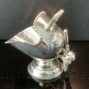 Vintage Silver Plated Coal Scuttle / Helmit Shape Sugar Bowl & Shovel