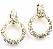 CINER Golden Pave' Hoop Pendant Clip Earrings