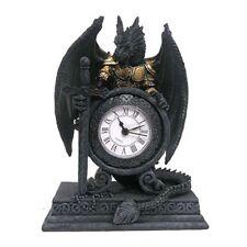 TABLE CLOCK GOTHIC DRAGON ARMOUR SWORD DESK  SHELF TIMER HOME DECORATION DRG28