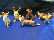 Lot of 5 Vintage Celluloid Animals~Rabbit, Cats, Dog, Fox