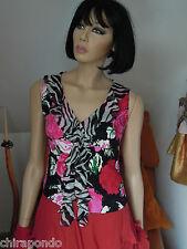 Top Shirt Gr. 36 Gr.38 schwarz weiß rot Seide Rosen Rüschen Zebra  zauberhaft