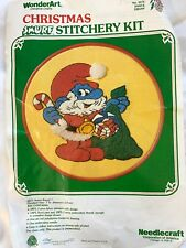 Vintage Christmas Smurf Crewel Embroidery Kit WonderArt 5575 Santa - Started