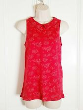 DOROTHY PERKINS textured Red floral sleeveless Collared Blouse Top sz.10 skirt