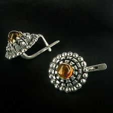 Amber earrings from Latvia Latvian handmade Silver and