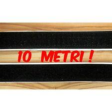 Lotto 10 METRI Velcro strappo adesivo da 2 cm completo maschio+femmina nero
