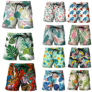 Men Beach Shorts Leaf Printed Swimwear  Summer Vacation Surfing Swimming Trunks
