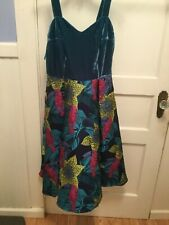 70a9cd6e072e COLLECTIF VINTAGE EMMA TROPICAL BROCADE SWING DRESS M UK12 New