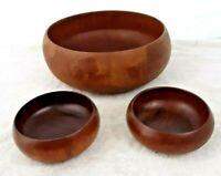 "Lot of 3 Vintage 1950's Solid Teak Wood Hand Carved 11"" Salad Bowl + 2 Small 5"""