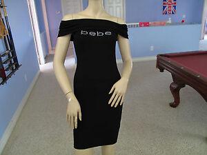 Bebe Black Fold Over Rhinestone Logo Dress NWT$69~X-Small~