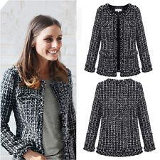 Hot Womens Casual Tweed Jacket Overcoat Winter Wool Trench Coat Tops Suit Blazer