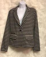 MERONA Blazer Jacket Grey/Black Stripe Textured Knit Sz L - NWOT