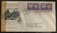 1944 Omaha NB USA First Day Censored Cover FDC To La Plata Argentina Railroad