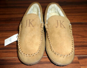 "NEW MENS LANDS END MOCCASIN SUEDE SLIPPERS ""ENGLISH TAN"" FAUX FUR ""JK"" SIZE 11"