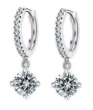 Caratcube 18K White Gold Plated Crystal Bali Style Hoop Earrings (CTC - 87)