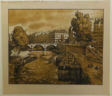 Le pont Saint-Michel Paris bois woodcut Colin XXème siècle