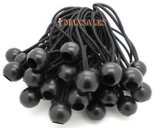 "(100) 6"" BLACK Ball BUNGEE Cord Tarp Bungee Tie Down Strap Bungi Canopy Str"
