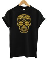 Candy Large Skull T Shirt Gold Printed Fashion Tumblr Mexico Hipster Swag Fresh