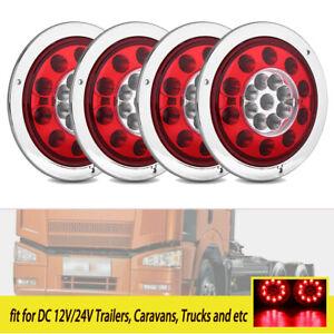 4x 19 LED Round Car Truck Trailer Lorry Brake Stop Lamp Turn Tail Lights 12V 24V