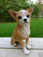 CHIHUAHUA DOG STATUE FIGURINE CANINE HOME DECOR RESIN PET SITTING PUPPY 9 IN.