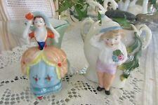 Antique half doll related full figure miniature vases