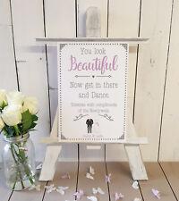 Personalised Ladies Toiletry Basket Wedding Sign pink