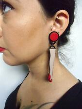 Boucles d'oreilles art déco jambes pinup talons hauts rouges plastique acrylique