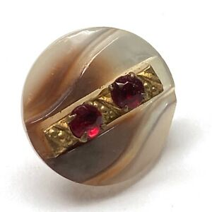 Antique Button ~ Unique Carved Iridescent Pearl w Claw Set Red Glass & Brass
