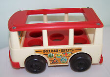 Vintage Fisher Price 1969 # 141 White Red Mini Bus Wood Base Made in USA