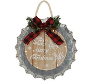 Plow & Hearth Vintage Metal Bottlecap Holiday Wall Art, Lights up.