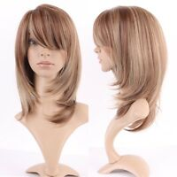 Thick Ombre Hair Wig Long Straight Wavy Curly Full Wig Women Synthetic Cosplay &