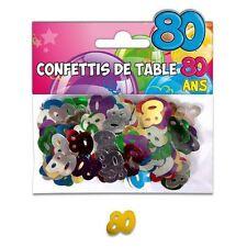 CONFFETIS DE TABLE ANNIVERSAIRE 80 ANS Multicouleur Décoration de Salle