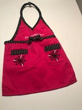 American Girl Doll Place Smock Apron Pink Black Flower Polka Dot Chef Cooking