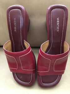 Westies Womens Size 8M Leather Red Wedge Slip On Shoes Slide Sandals