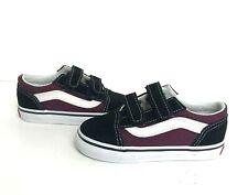 Vans Toddler Old Skool V Sneakers Black Burgundy White 8 New