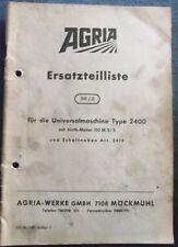Agria Universalmaschine Typ 2400 Ersatzteilliste