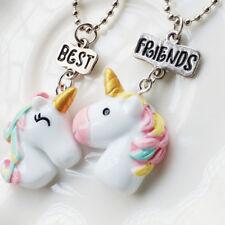 2Pcs/Set Best Friend Unicorn Necklaces for Children Girls Jewelry Birthday Gifts