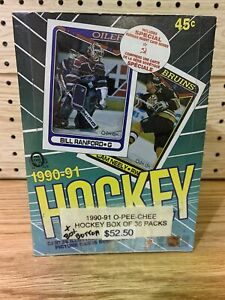 1990-91 OPC O-Pee-Chee Hockey Box w/36 Original Unopened Wax Packs sealed box