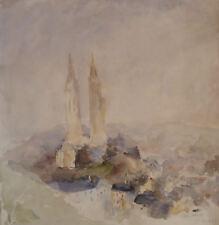 Charlotte DORAT-IBELS (1904-?) Aquarelle de 1939 Signée Saint-Lô Fauvism Fauvist